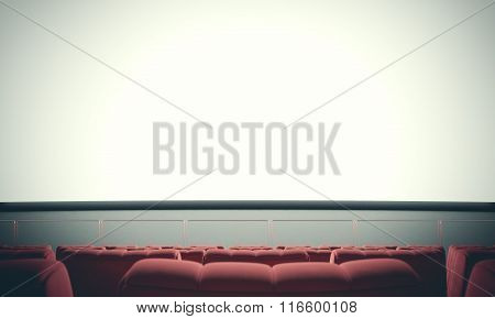 Empty cinema screen with red seats. Ready for your advertisement. With color filter. 3d render