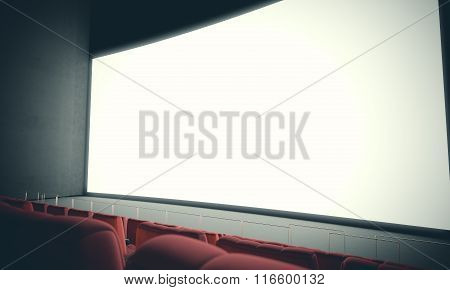 Empty cinema screen with red seats. With color filter. 3d render