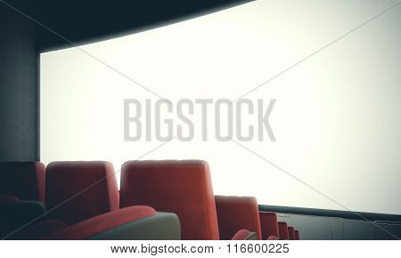 Closeup of empty cinema screen with red seats. With color filter, wide. 3d render