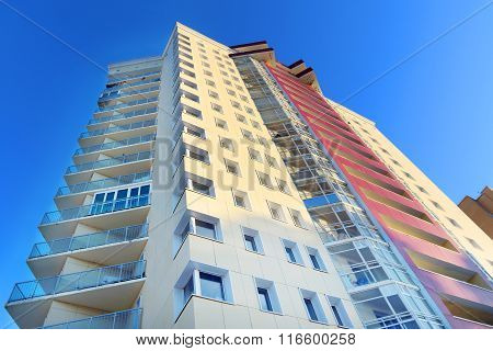 Perm, Russia - Feb 17, 2015: Part Of Residential Building. In 2014 Residential Buildings Were Built