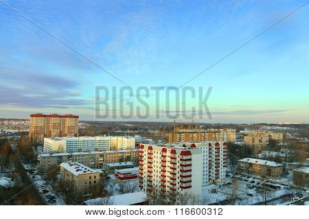 Panoramic Views Of Residential Area And Beautiful Blue Sky In Winter Day