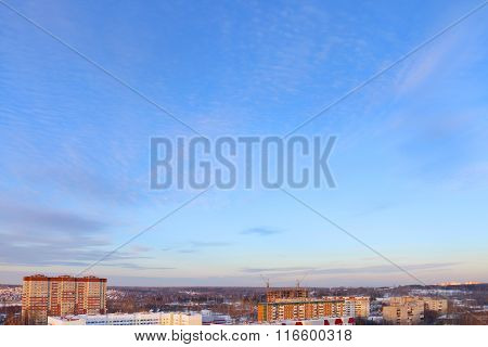 Panoramic Views Of Residential Area And Beautiful Sky In Winter Day