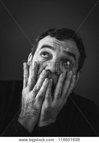 Concerned scared man