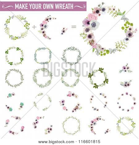 Vintage Flower Wreath Set - Watercolor Style - in vector