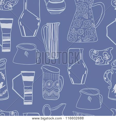 Retro Pitches seamless vector pattern