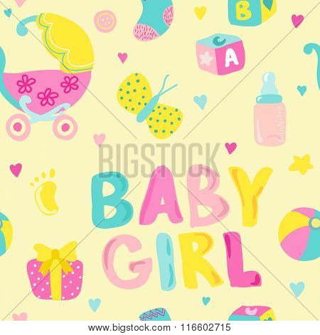 Baby Girl Seamless Background - for design and scrapbook - in vector