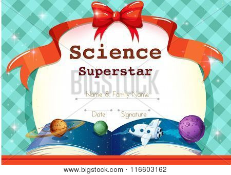 Certificate template with science theme illustration