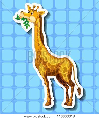 Cute giraffe chewing the leaves illustration