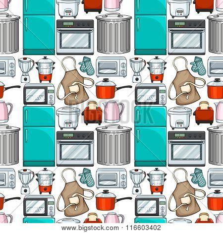 Seamless wallpaper design with kitchenwares illustration