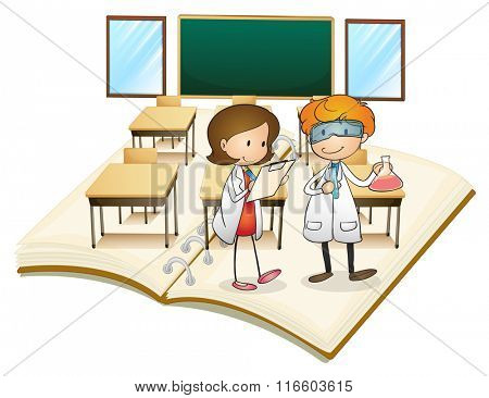 Book of scientists working in the class illustration