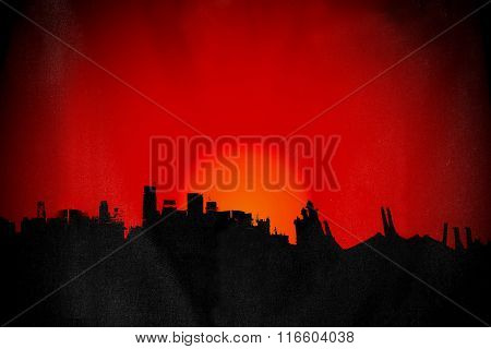 Silhouette old deserted town, with sunset red background