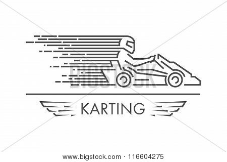 Vector Linear Karting And Go Kart Logo And Icon.