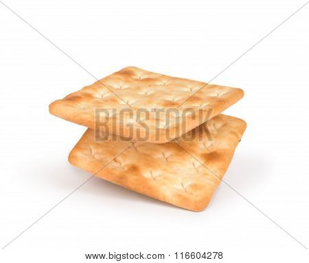 Square Crackers Isolated On White Background