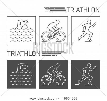 Modern Line Logo Triathlon. Vector Black And White Figure Triath