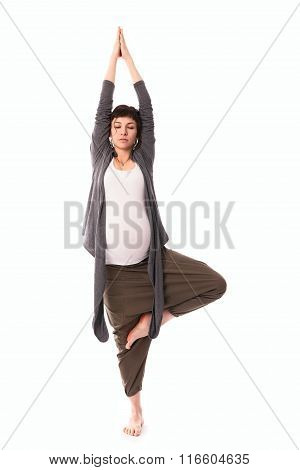 Pregnant Woman Practicing Yoga, Gray Casual Clothing