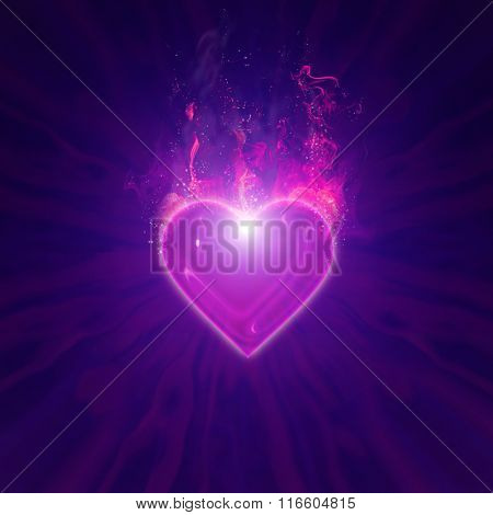 burning heart with fireworks on a dark background