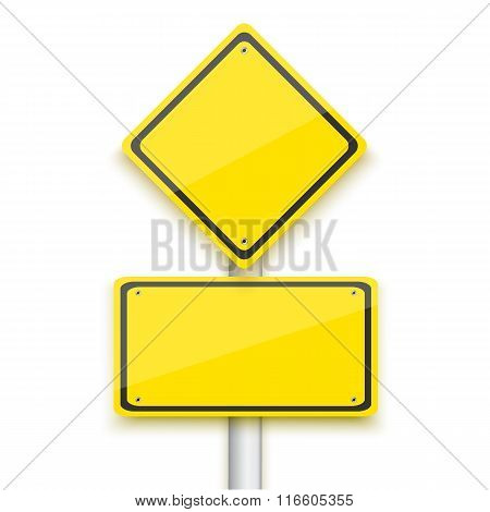 Vector Road Yellow Sign. Realistic Vector EPS10 Isolated Road Si