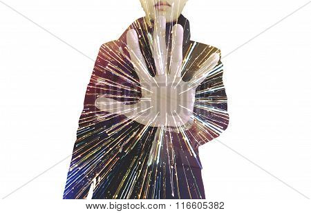 Double exposure, businessman showing palm, with speed light motion, isolated on white background
