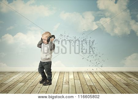 little child with headphone and abstract interior