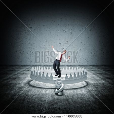 3d bear trap and businessman