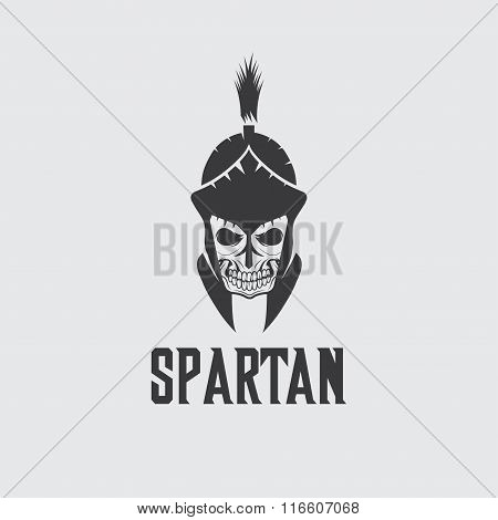 Old Vintage Antiques Skull Spartan Warrior Vector Design Template
