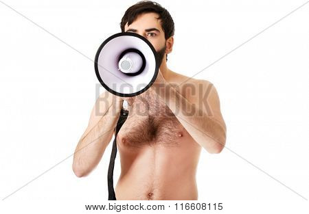 Shirtless man shouting using a megaphone.
