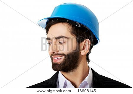 Young man with hard hat.