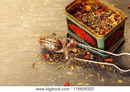 Dry tea with vintage spoon
