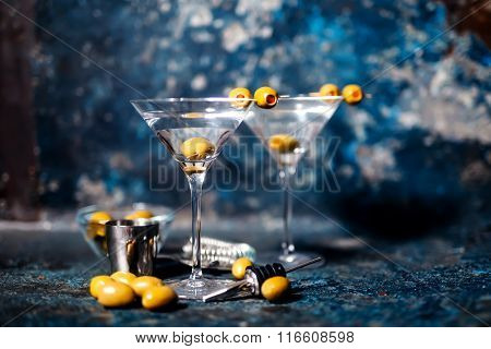 Vodka Martini With Olive Garnish. Long Drink Alcoholic Cocktail.