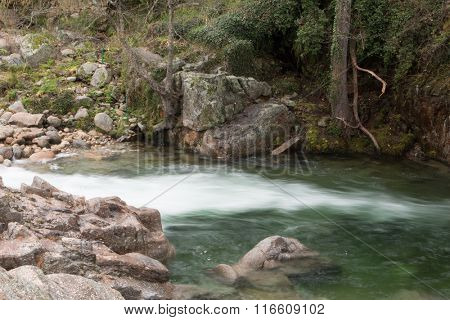 Landscapes of mountain throats of crystalline water