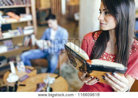 Beautiful Woman Reading Book