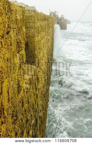 The Sea Wall Of The Old City Of Acre In A Winter Day