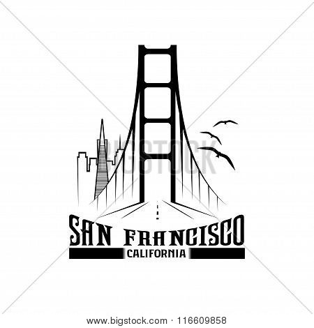 Skyline Of San Francisco Vector Design Template