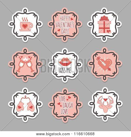Trendy and cute pink and white love and valentines Day tags and stickers set on gray background