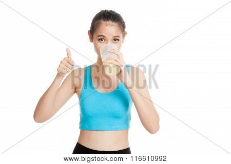 Beautiful Asian Healthy Girl Show Thumbs Up  Drink Whey Protein