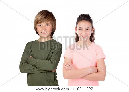 Brother and sister isolated on a white background