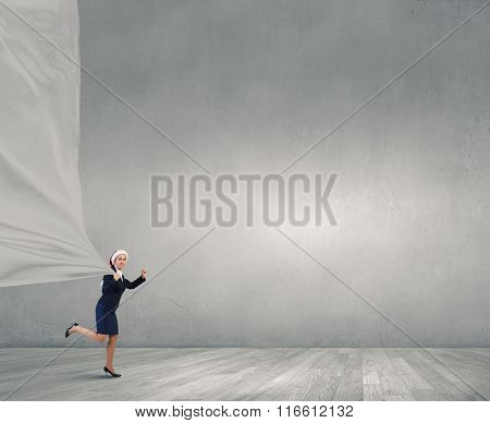 Santa woman with white banner