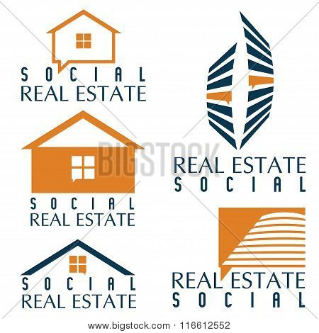 Collection Of Social Real Estate Icons And Design Elements