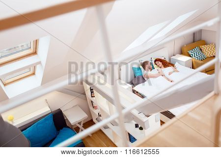 Romantic Couple Resting In Bed