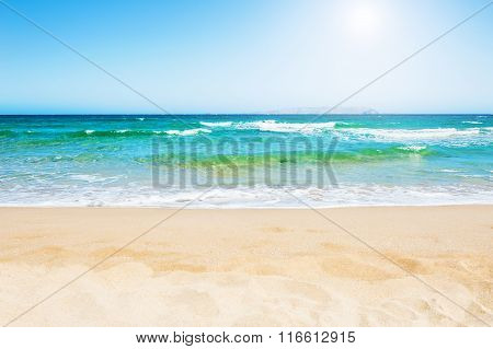 Beautiful Tropical Beach With Turquoise Water And White Sand.