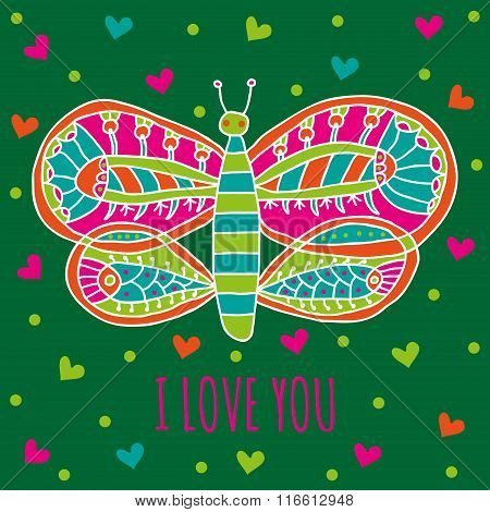 Cute butterfly with bright colorful ornaments and hearts on a dark green background
