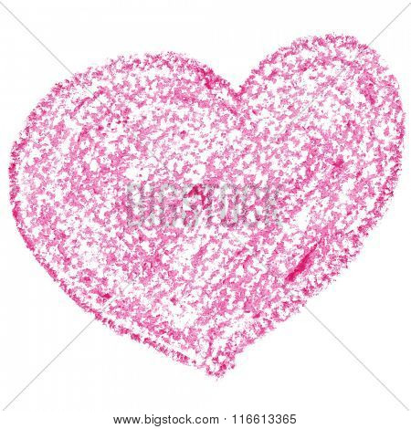 Pink heart isolated on the white background. Valentine's day card