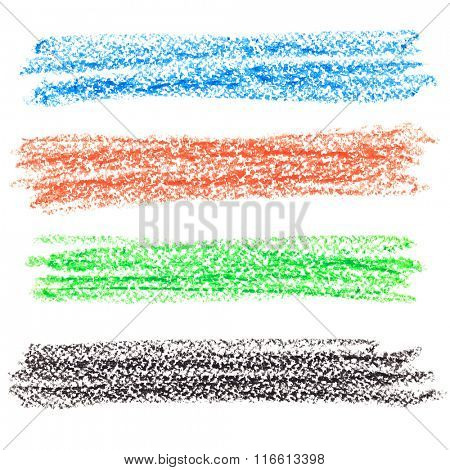 Set of colorful crayon lines isolated over the white background
