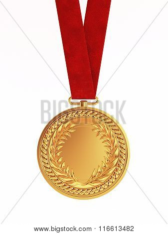 Blank Golden Medal With Ribbon For First Place