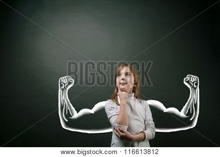 Girl with sketched strong and muscled arms
