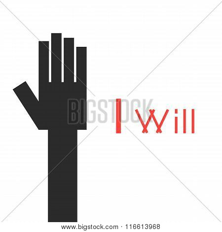 abstract black hand with i will inscription