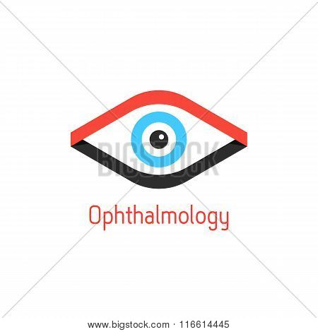 ophthalmology logotype with eye from ribbons