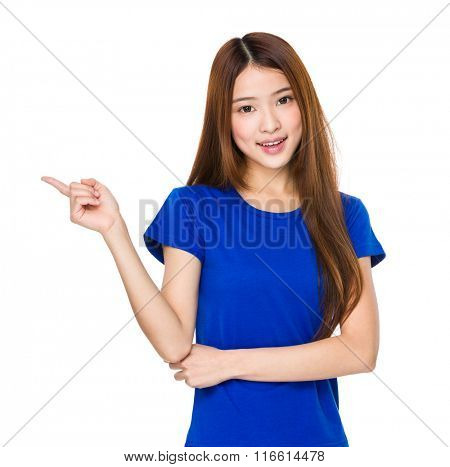Teenage girl pointing finger up
