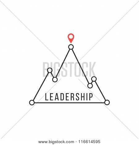 leadership icon like mountain peak
