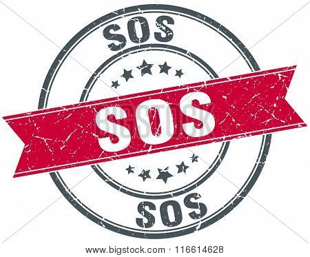 sos red round grunge vintage ribbon stamp